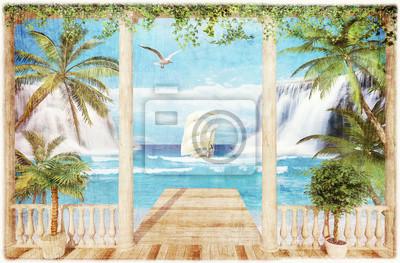 Fototapeta taras z widokiem na morze