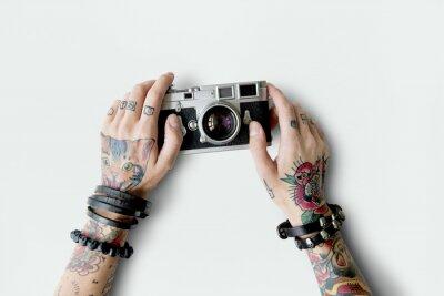 Tatuaż Aparat Fotograficzny Multimedialna Film Concept Fototapeta