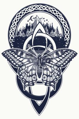 Tatuaż Celtycki Węzeł I Motyl Góry Las Symbol Podróży Symetria