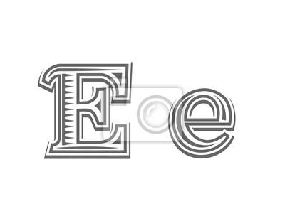 Fototapeta Tatuaż Czcionki Do Grawerowania Litera E