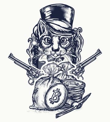 Fototapeta Tatuaż Kota Rabusia Dżentelmen Z Rewolwerami Splądruje Kryptowaluty