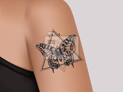 Fototapeta Tatuaż Na Ramieniu Kobiety Tajemniczy Tatuaż Motyla Szablon
