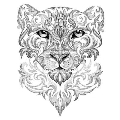 Fototapeta Tatuaż Snow Leopard Pantera Kot Z Wzorami I Ozdoby