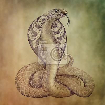 Fototapeta Tatuaż Wąż Kobra Z Otwartym Cowled