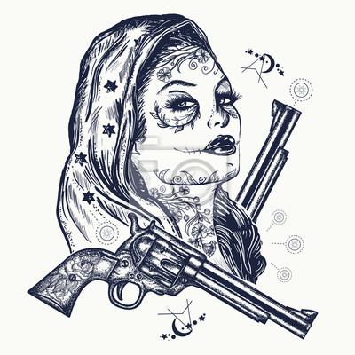 Fototapeta Tatuaż Z Dzikiego Zachodu Kobiety Santa Muerte Girl Czaszka