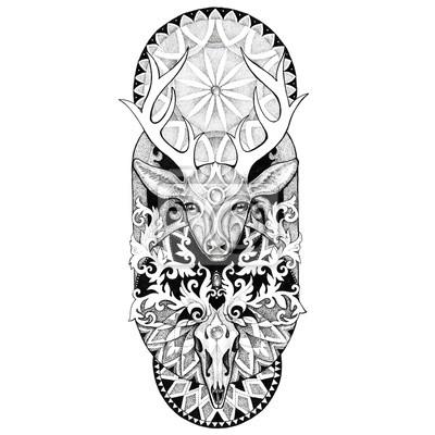 Tatuaże Jelenie Głowy Z Mandali Fototapeta Fototapety Piękny