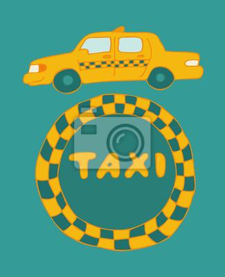 Fototapeta Taxi sign kabina, ilustracji wektorowych, wyciągnąć rękę