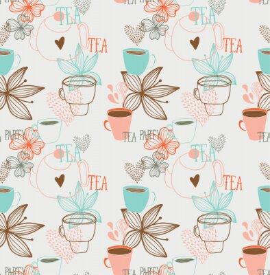 Fototapeta Tea Party szwu z kwiatów i serca