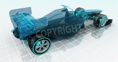 Fototapeta Technologia samochodów Formuła karkasy szkic górnej części pleców Widok motorsport tła Produkt konstrukcja własną rękę