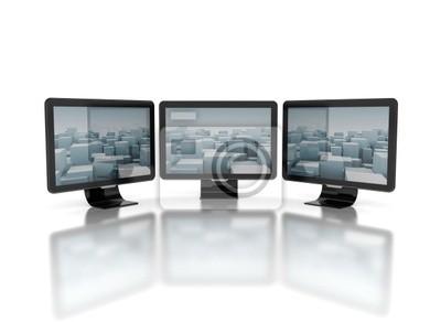 Fototapeta Telewizory o płaskich ekranach na białym tle