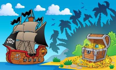 Fototapeta Temat z piratem skarb 1