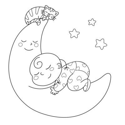 Fototapeta Tenera luna con Bebe che dorme