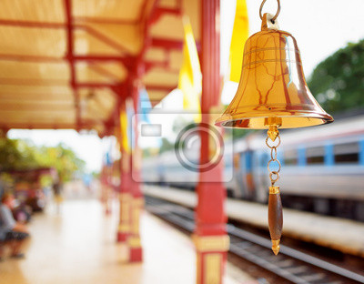 Fototapeta The bell is at the station Hua Hin in Thailand.