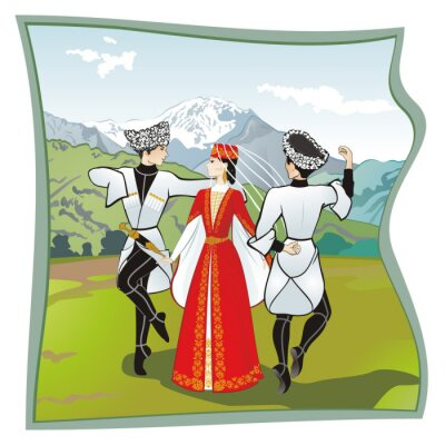 Fototapeta The dance Lezginka, Dances of the of the North Caucasus. Two men and one woman dancing on the grass Ossetian lezginka. In the background mountains, vector illustration
