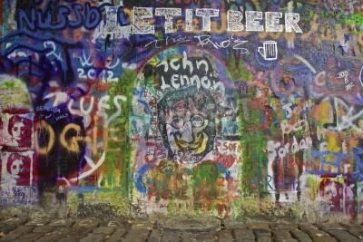 Fototapeta The Lennon Wall in Prague with graffiti