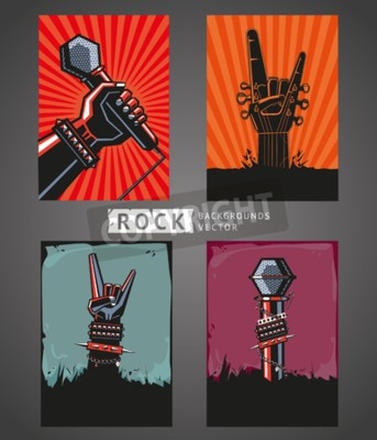 Fototapeta tła skalne. Cztery szablony dla rockowych plakatów.