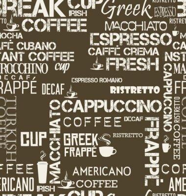 Fototapeta Tło bez szwu sąsiadująco z kawą wyrazy i symbole