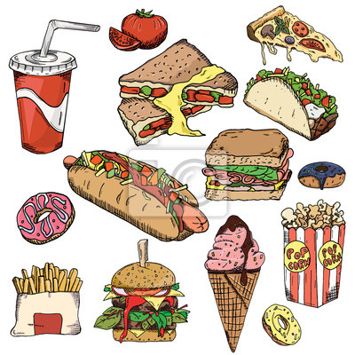 Tlo Fast Food Kolekcja Przekasek Niezdrowe Jedzenie Ilustracji Fototapeta Fototapety Frytki Taco Paczki Myloview Pl
