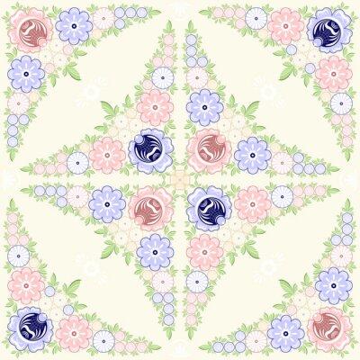 Fototapeta Tło kwiatowym ornamentem. Gorodets malowanie. Rosyjski tradycyjna sztuka ludowa. Ilustracja wektora 10 EPS