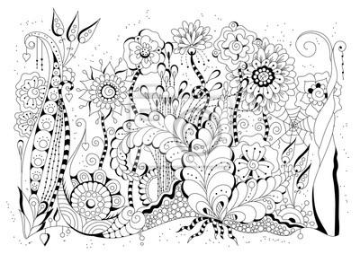 dbeb1aad443391 Fototapeta Tło ręcznie rysowane. Książka kolorowanka, strona dla dorosłych  i starszych dzieci. Czarno
