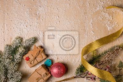 Fototapeta Tło świąteczne Dekoracje Gałęzie Sosny I Ostrokrzewu Ręcznie