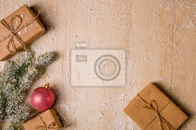 Fototapeta Tło świąteczne Dekoracje Ręcznie Robione Prezenty Boże Narodzenie