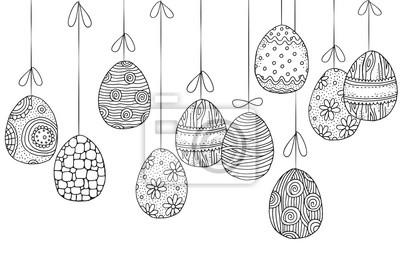 Tło z wiszące jaja wielkanocne. r? cznie rysowane elementy wektora.  Fototapeta • Fototapety topview, easter egg, farbowanie | myloview.pl