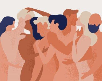 Fototapeta Tłum nagich mężczyzn i kobiet, przytulanie i całowanie. Pojęcie poligamii, poliamorii, otwartego intymnego związku romantycznego i seksualnego, wolnej miłości. Kolorowa wektorowa ilustracja w płaskim