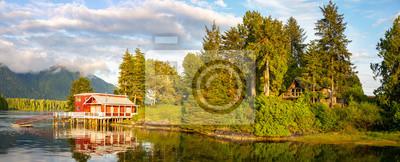 Fototapeta Tofino Harbour, red lonely dock house, Vancouver Island. British Columbia, Canada
