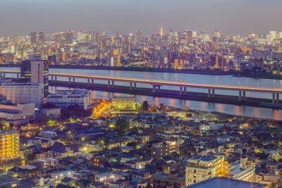 Fototapeta Tokio widok na miasto z wieży Tokio w zmierzchu