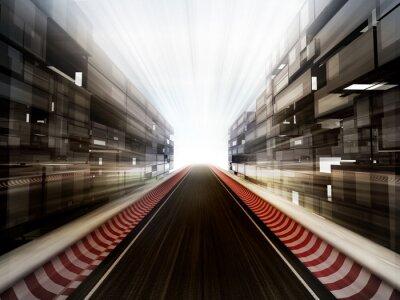 Fototapeta Tor wyścigowy w bussiness tle szklanego miasta