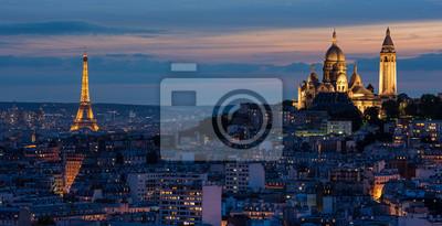 Fototapeta Tour Eiffel et au couché Sacré Coeur de soleil