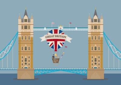 Fototapeta Tower Bridge w Londynie z balonem
