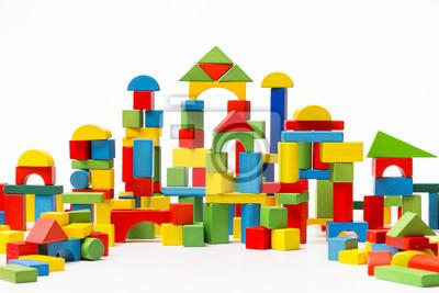 Fototapeta Toy Blocks City Dom Dziecka Cegły Budowlane Dzieci Drewniane