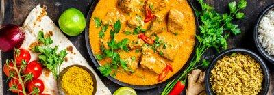 Fototapeta Tradycyjne curry i składniki
