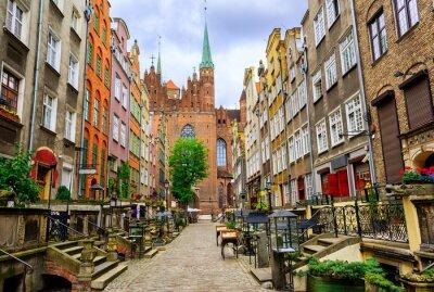 Fototapeta Tradycyjne gotyckie domy w starym mieście Gdańsk, Polska