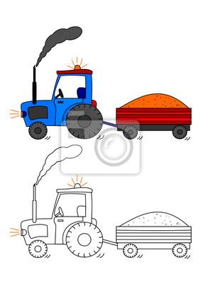 Traktor Z Bocznicy Kolorowanka Dla Dzieci Wektor Fototapeta