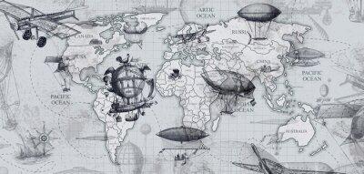 Fototapeta travel across the globe, balloons, aircraft, cars, ships photo wallpapers on the wall