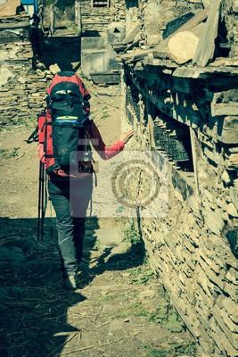 Fototapeta Trekker przędzenia modląc się koło.