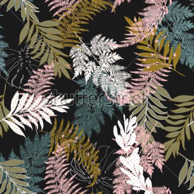 Fototapeta Trendy Dark Beautiful wiele rodzajów liści wypełnionych kropkami bez szwu deseniem i sylwetką bez szwu garnitury wektorowe dla mody, tkanin i wszystkich nadruków na czarnym tle