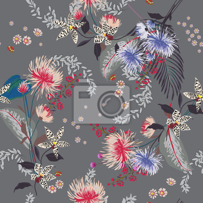 Fototapeta Trendy  Floral pattern in the many kind of flowers. Tropical botanical  Seamless vector texture. Elegant template for fashion prints.