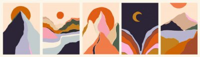 Fototapeta Trendy minimalist abstract landscape illustrations. Set of hand drawn contemporary artistic posters.