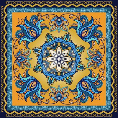 1d45e08970681d Fototapeta Tribal ornament etniczne. Chusta z nadrukiem z materiału  Bandanna, jedwabny szal lub chustka