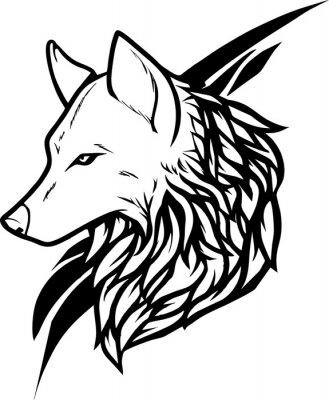 Fototapeta Tribal Szef Dzikiego Wilka Tatuaż Projektowania Szablonu