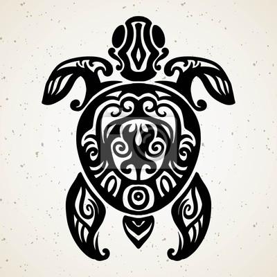 Fototapeta Tribal Tatuaż Z Ozdobnym żółwia Morskiego Z Etnicznym Wzorem