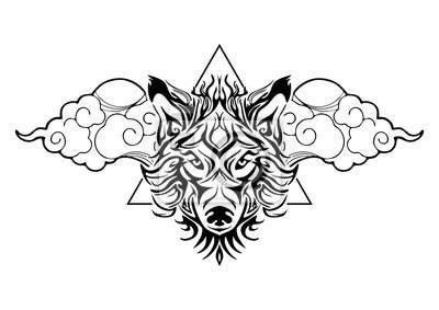 Tribal Wilk Głowy Tatuaż Ozdobić Orientalną Chmurę I Geometryczny