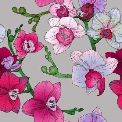 Fototapeta Tropic kwiatowy szwu z ręcznie rysunek kwiatów orchidei