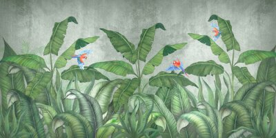 Fototapeta Tropical jungle with flying parrots. Against the background of textured plaster.