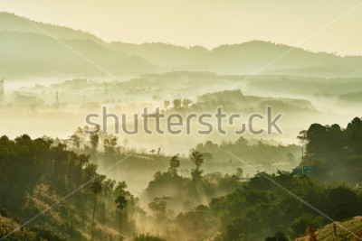 Fototapeta Tropical nature landscape mountains forest with slightly fog in morning and sunlight, Thailand.