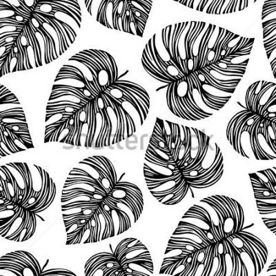 Fototapeta Tropical trendy seamless pattern with exotic leaves.